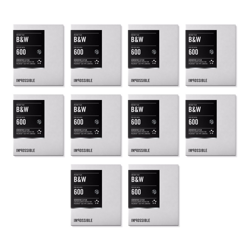 Impossible Instant Black & White 2.0 Film for Polaroid 600-Type Cameras (10 Pack)
