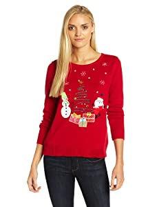 Isabella's Closet Women's Snowman and Santa Presents Ugly Christmas Sweater from Isabella's Closet