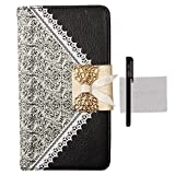 Xhorizon® Bow Lace Fashion Wallet Flip Feature with Credit ID Card Slots Holder Strap PU Leather Bling Case Cover For iPhone 4/4s/5/5s Samsung Galaxy S3/S4/S5 S3 min i8190 Note 3 N9000