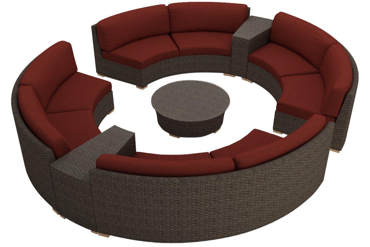 Harmonia Living 7 Piece Arden Curved Sectional Cushion Set - Canvas Henna
