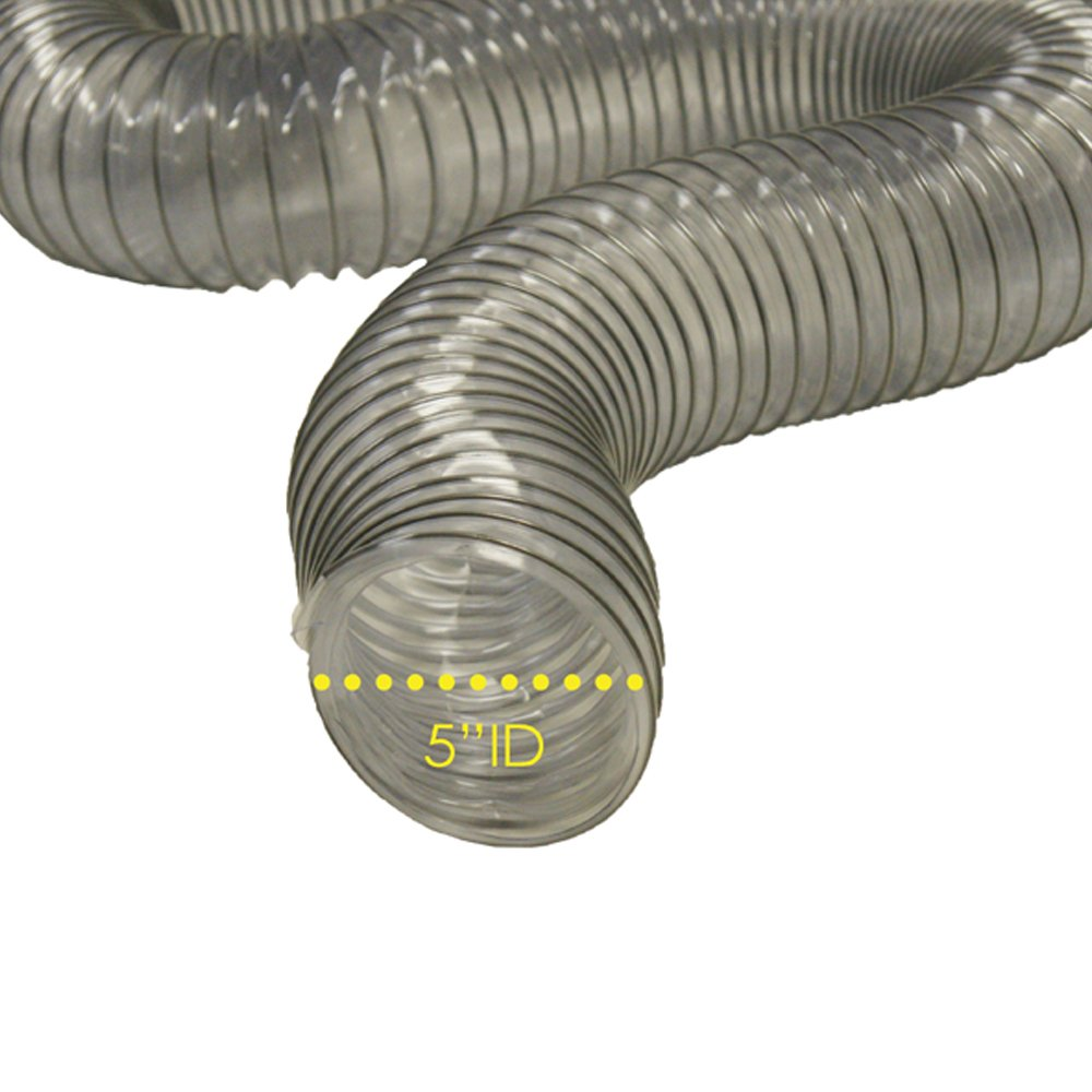 PVC Flexduct (Light Duty) Clear - Vent Hose - 5 ID x 25ft Length Hose (Fully Stretched) 1meter food grade medical braided rubber hose reinforced silicone rubber tube high temp resist rubber steam pressure pipe