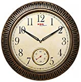 SNS Creations designer double dial / movement Wall Clock (38 x 38 cm, Brown)
