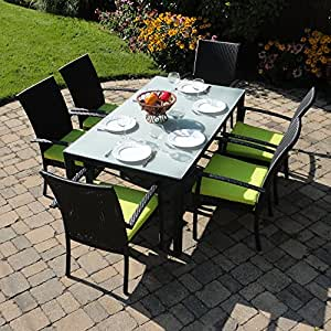 Turks Outdoor Wicker Patio Furniture Dining Set With Frosted Gla