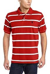 Men's Short Sleeve Striped Pique Polo Shirt