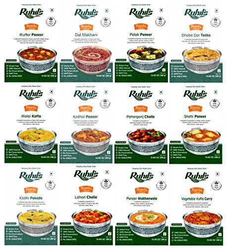 Ruhil's Ready To Eat Meal Just Heat & Eat Variety Pack of 12 (Packaged Meals compare prices)