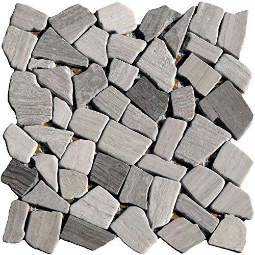 1 netz bruchmosaik grau kalkstein holzoptik grau. Black Bedroom Furniture Sets. Home Design Ideas