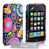 Yousave Accessories Stylish Jellyfish Pattern Silicone Gel Cover Case with Screen Protector Film, Grey Micro Fibre Polishing Cloth for Apple iPhone 3/3G/3GS - Black/Red/Pink/Yellow/Purpleby Yousave Accessories