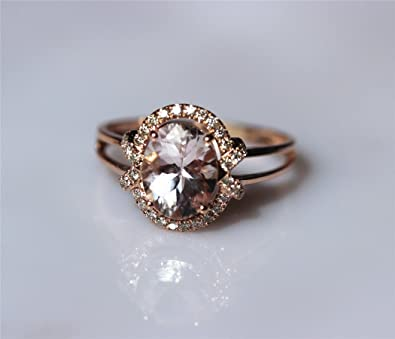 VogueGem Brilliant 1.65ct Light Pink Natural Morganite and SI/H Diamond Pave Wedding Engagement Ring Gemstone Ring
