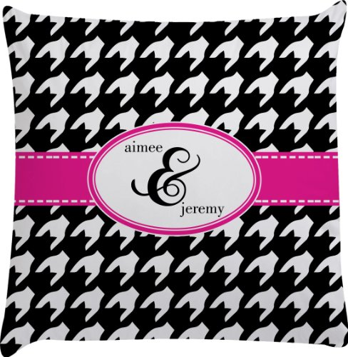 Houndstooth W/Pink Accent Personalized Euro Sham Pillow Case front-980270