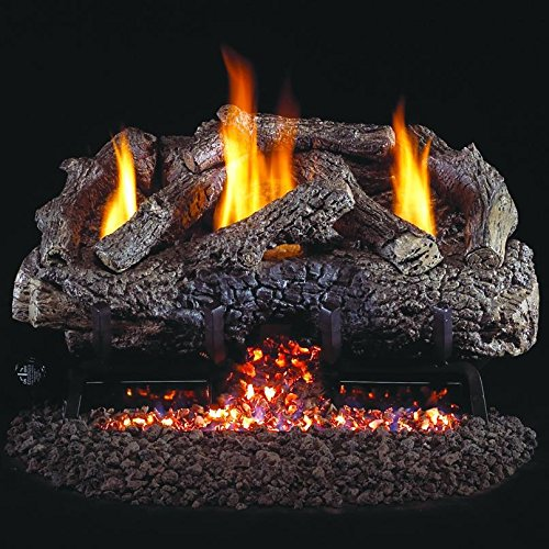 Peterson Real Fyre 18-inch Charred Frontier Oak Log Set With Vent-free Natural Gas Ansi Certified G10 Burner - Variable Flame Remote (18 Ventless Gas Logs With Remote compare prices)