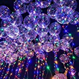 6 Pack LED Bobo Balloons, Party Decor Balloons, Bobo Balloons Bubble Light, 18-Inch Fillable Transparent Balloons with Helium, Air, Clear Bobo Balloon Sticks, Ideal for Birthday Party Proposal Wedding (Color: Multi-colored)