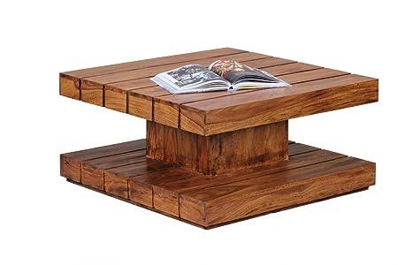 Wohnling diseño mesa de centro 80 x 40 cm madera Sheesham