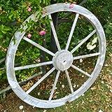 天然木製 車輪トレリス ホワイト 直径80cm×厚さ35mm アンティーク調仕上げ WT-80WHT