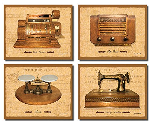 General Store I Vintage, Antique Cash Register, Sewing Machine, Radio and Scale; Four 14 x 11 Poster Prints (Cash Register Scale compare prices)