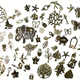 About 100 pcs or 4 oz Mixed antique Bronze assorted mix tibetan charms, pendants, elephants, birds, hearts, Tree of life, Keys, ocean life
