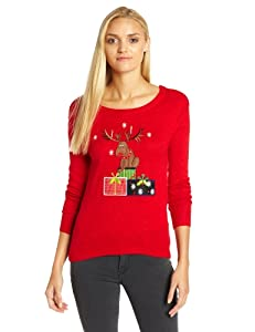 Isabella's Closet Women's Reindeer and Presents Ugly Christmas Sweater from Isabella's Closet