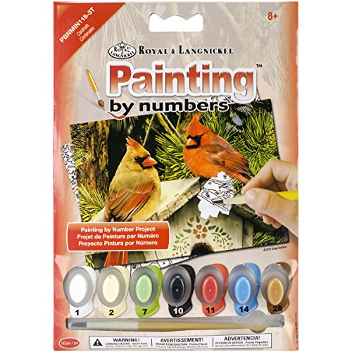"Royal Brush Cardinals Mini Paint by Number Kit, 5"" by 7"""