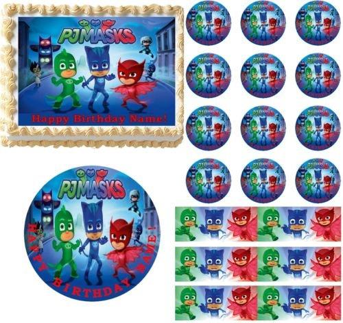 PJ MASKS Edible Cake Topper Image Frosting Sheet Cake Cupcakes Decoration NEW Quarter Sheet (7.5 x 10)