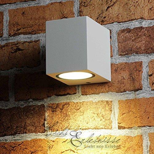 Kompakter-Downstrahler-Auenleuchte-fr-die-Wand-in-wei-Gu10-Strahler-Wandlampe-Auenlampe-Beleuchtung-Hof-und-Garten
