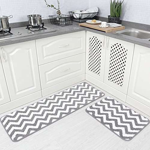 Carvapet 2 Pieces Microfiber Chevron Non-Slip Soft Kitchen Mat Bath Rug Doormat Runner Carpet Set, 17