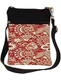 Snoogg Floral Red And White Cross Body Tote Bag / Shoulder Sling Carry Bag