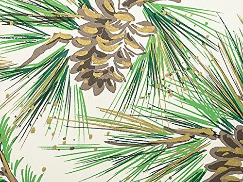 NEW Pine Boughs & Pine Cones w/Gold Accents Christmas Gift Wrap Paper - 16ft Roll (Polka Dot Paper Cones compare prices)
