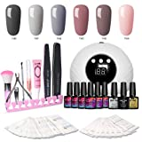 Modelones Gel Nail Polish Kit with UV Light - New Winter Series with 6 Colors Gel Matte Top Coat, Base Top Coat, 24W Nail Lamp, Upgraded Manicure Tools (Color: Gel Kit(GiftBox))