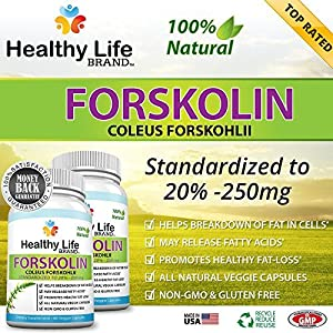 Forskolin Coleus Forskohlii Supplement Reviews - Healthy Life Brand - 100 Pure 250mg 20 Standardized Root Extract Natural Weight Loss Trim Diet Supplement - Burn Lose Belly Fat - Best Premium And Perfect All Natural Diet Pill - Made In Usa Highest Quality