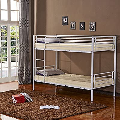 3ft Single Metal Frame Bunk Bed for Kids Twin Sleeper (White bed frame only)