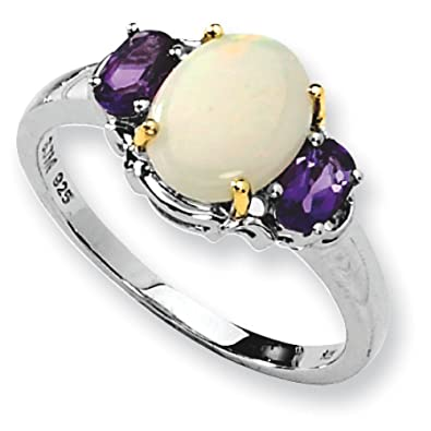 Sterling Silver and 14K Created Opal and Amethyst Ring - Measures 2x9mm - Ring Size Options Range: L to P