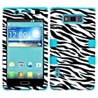 MYBAT Hybrid Phone Protector Cover for LG Splendor/US730/Venice/Optimus Showtime/L86C - Carrying Case - Retail Packaging - Zebra/Tropical Teal