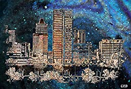 Original Baltimore Art Print- Starry Night in Baltimore Towne