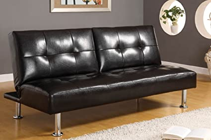 Leatherette Futon Sofa in Black by Furniture of America