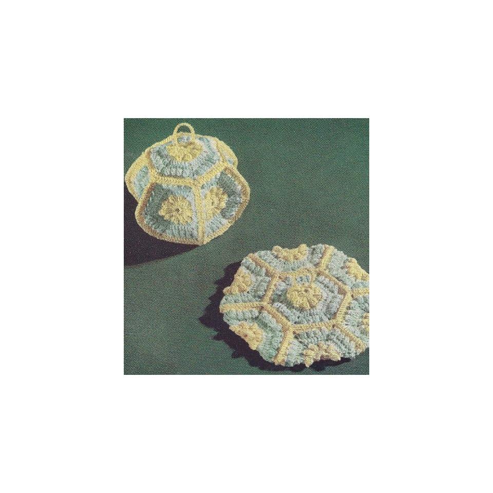 Vintage Crochet Pattern To Make Lantern Potholder Hot Pad Mat Not A