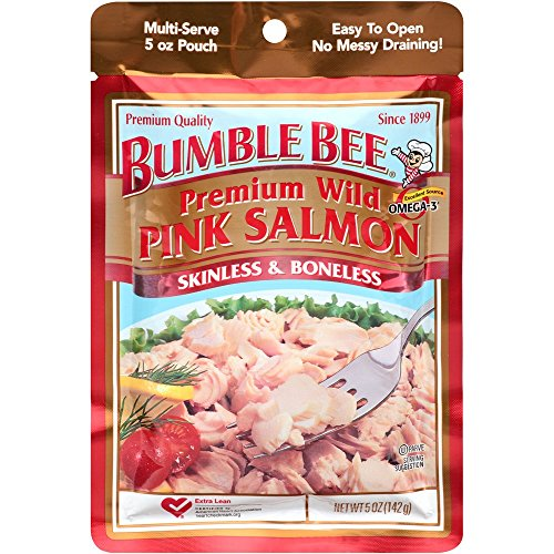 Bumble Bee Premium Wild Pink Salmon Skinless & Boneless, 5-Ounce Pouch (Pack Of 10)