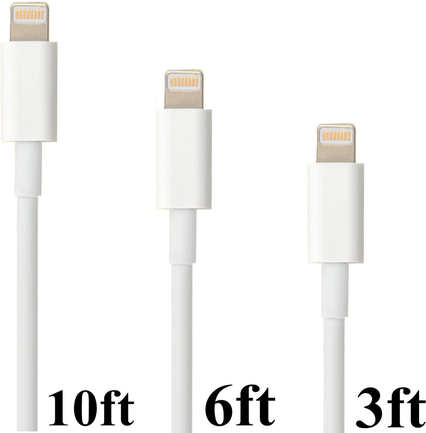 Eaglewood (TM) 3Pcs 3feet 6feet and 10feet 8 Pin to USB Extended Extra Long Charging and Sync Cable Power Cord Charger for Apple iPhone 6/6Plus iPhone 5 5s/c iPad 4 Mini air Ipod Touch Nano 7th Gen Compatible with iOS8 (White)