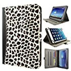 caseen Universal Tablet Wallet Case 8.9 - 10.1 Inch (White Cheetah/Black) w/ Multi-Angle Stand - TERRA