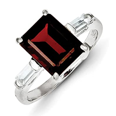 Sterling Silver Garnet Ring - Ring Size Options Range: L to P