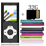 Tomameri Portable MP3 / MP4 Player with a 32 GB Micro SD Card, MP3 Player with Rhombic Button, Mini USB Port, E-Book Reader, Photo Viewer, Including Earphones and USB Cable - Black (Color: coalblack, Tamaño: 16GB)