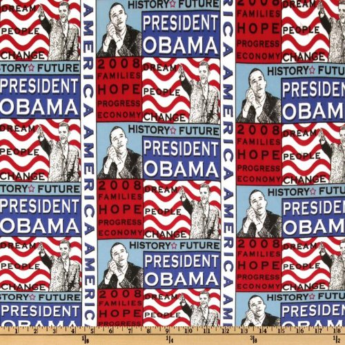 45'' Wide President Obama History Collage Multi Fabric By The Yard