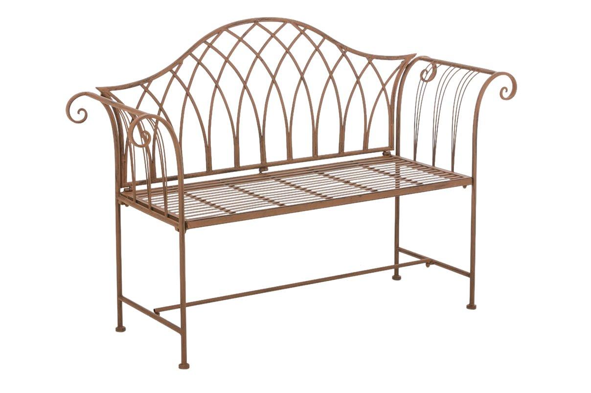 CLP Gartenbank JAMEE im Landhausstil, aus lackiertem Eisen, 102 x 43 cm - aus bis zu 6 Farben wählen antik braun