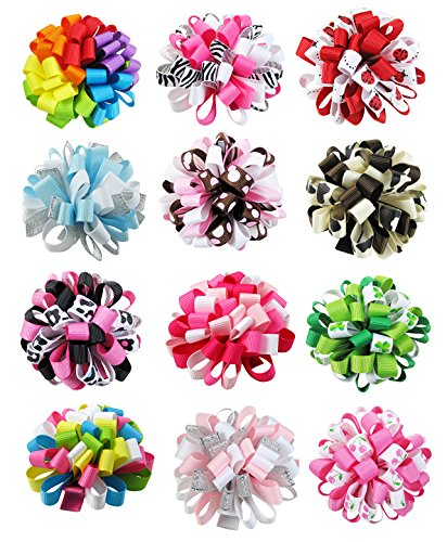 HipGirl Boutique Girls Loopy Ribbon Puff Hair Bow Clips/Barrettes Combo (Ship From USA--Set #2 12pc Smal Loopy Puff Bow Clips)