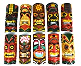 SET OF 10 HAND CARVED POLYNESIAN HAWAIIAN TIKI STYLE MASKS 12 IN TALL