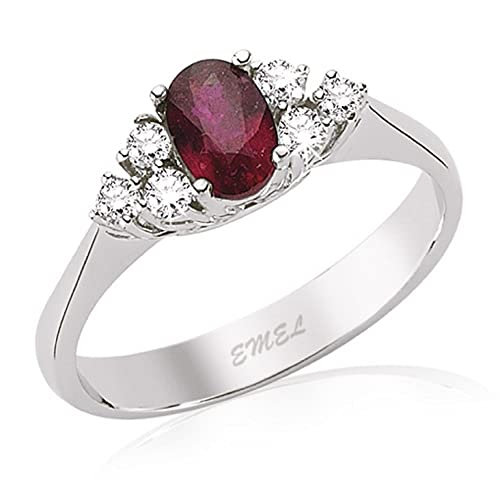 0.76 Carats 18k Solid White Gold Ruby and Diamond Engagement Wedding Bridal Promise Ring Band