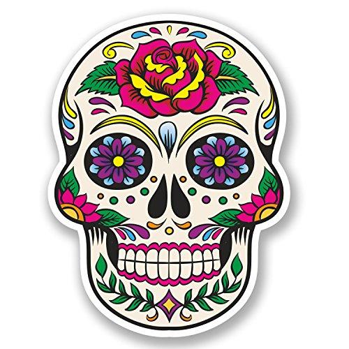 2 x Sugar Skull Vinyl Sticker Decal Mexican Spanish Mexico Day of the Dead#5670 7,5  cm ancho x 10  cm alto como se muestra