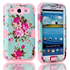 Rosepark(TM) Flower Pattern Hybrid High Impact Soft Silicone + Hard PC Luminous Case Cover for Samsung Galaxy S3 S III i9300(Pink)