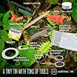 Survival Tin 10 Piece Survival Kit - Ultimate Disaster Survival Gear | Emergency Preparedness Survival Kit | Includes Pocket Knife, Blanket, Compass Whistle Mirror Combo, Fire Starter, and More!