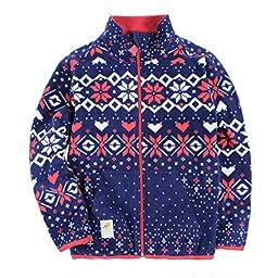 Bnspl Unisex kids\' Reversible Casual Pattern Fleece Coat
