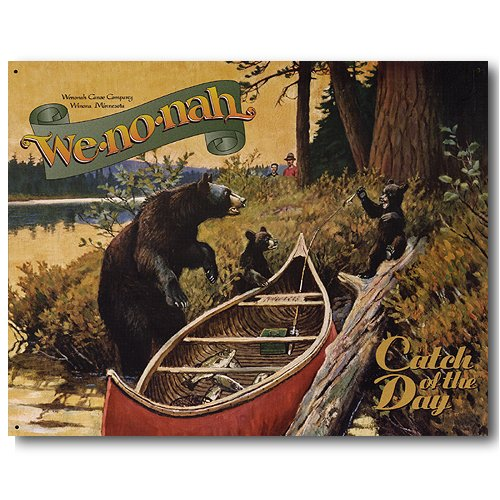 We-no-nah Canoes Catch of the Day Bear Fishing Retro Vintage Tin Sign