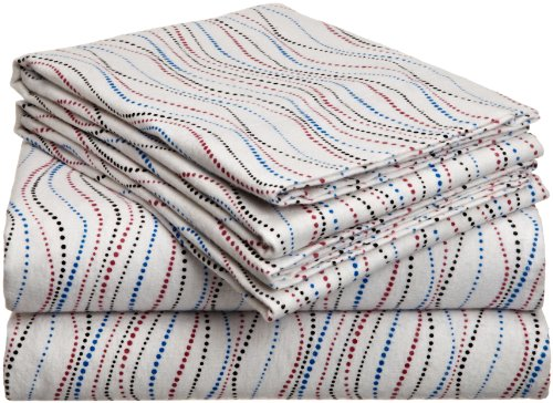 Pointehaven Heavy Weight Printed Flannel Sheet Set, Queen, Metro front-9383